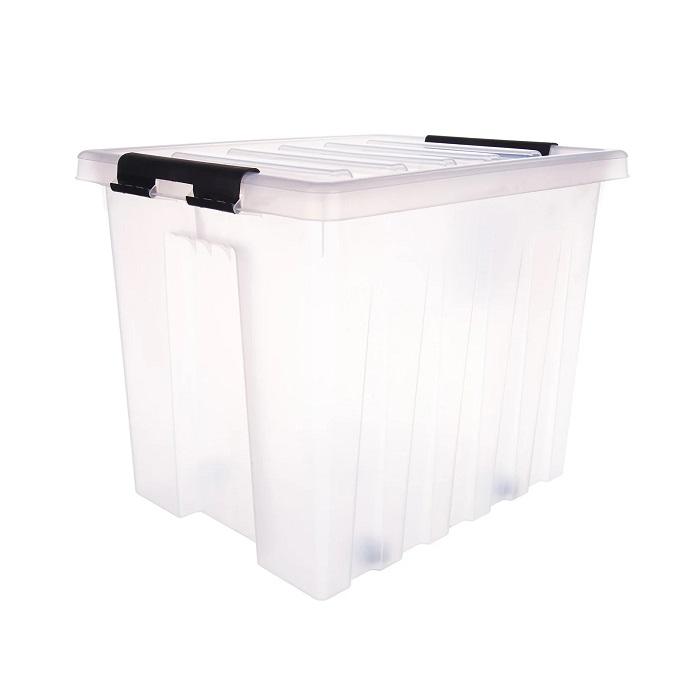 Ящик с крышкой на роликах 50 л прозрачный