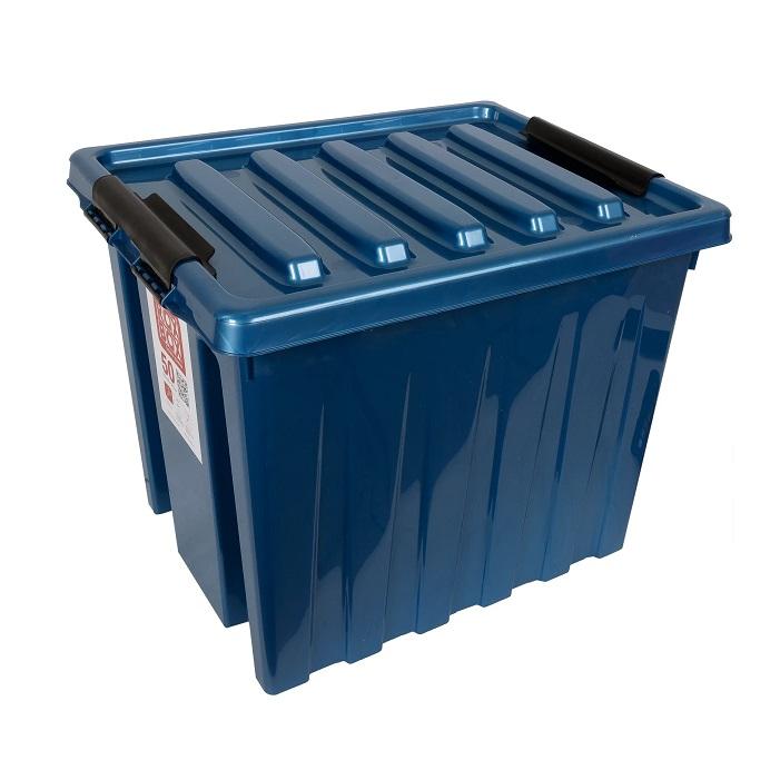 Ящик с крышкой на роликах 50 л синий
