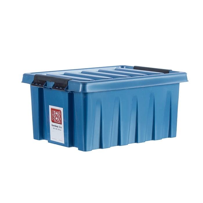 Ящик с крышкой 16 л синий