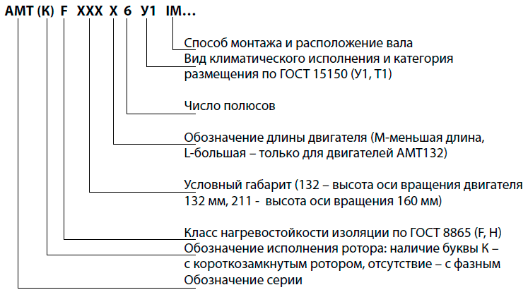 Структура условного обозначения двигателей АМТ