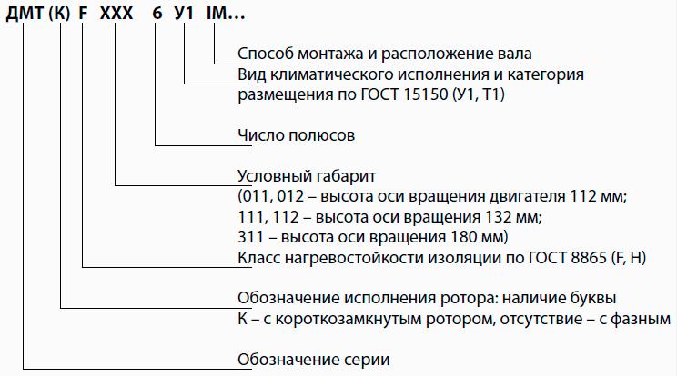 Структура условного обозначения двигателей ДМТ