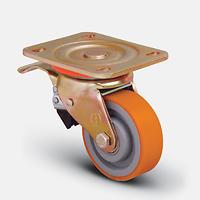 Колесо большегрузное полиуретановое поворотное с тормозом VBP