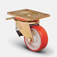 Колесо большегрузное полиуретановое поворотное с тормозом ZBP